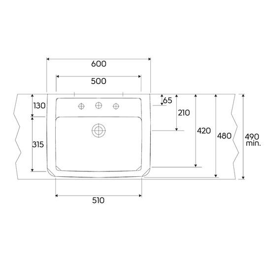 umywalka nablatowa 60x48cm renova nr 1 plan keratect. Black Bedroom Furniture Sets. Home Design Ideas